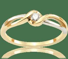 dc075c0e8401be Twisted Vine 0,06 ct Pierścionek zaręczynowy z brylantem z białego i żółtego  złota