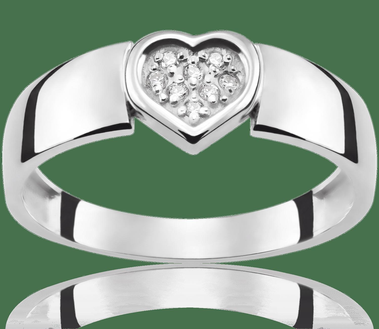 Pierścionek Zaręczynowy Heart 004 Ct Z Brylantem Białe Złoto