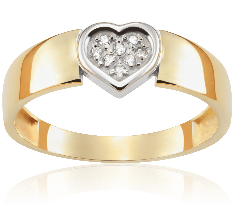 Pierścionek Zaręczynowy Heart 004 Ct Z Brylantem żółte Złoto