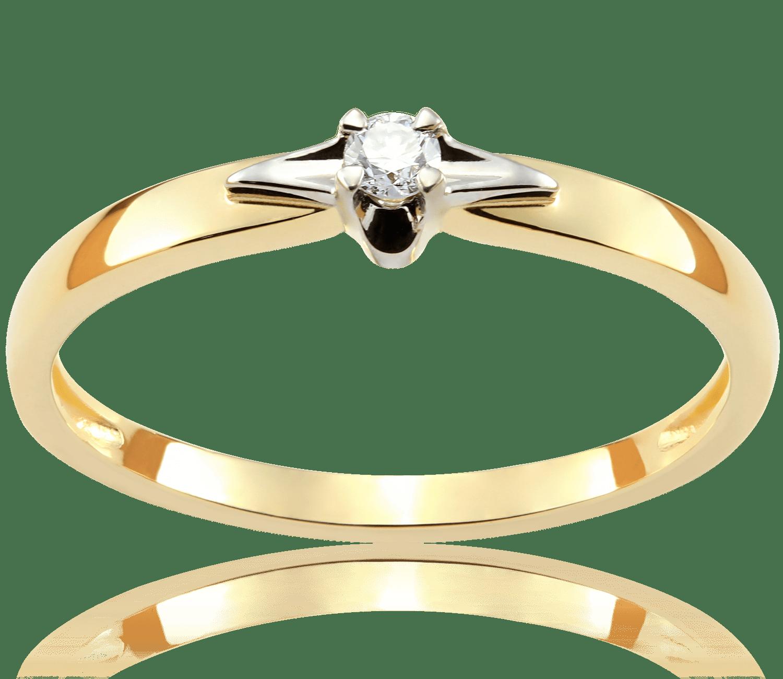 Pierścionek Zaręczynowy Golden Star 005 Ct Z Brylantem Białe I