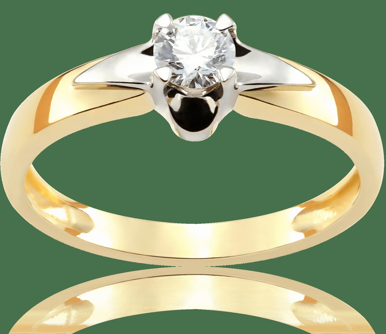 Pierścionek Zaręczynowy Golden Star 021 Ct Z Brylantem Białe I