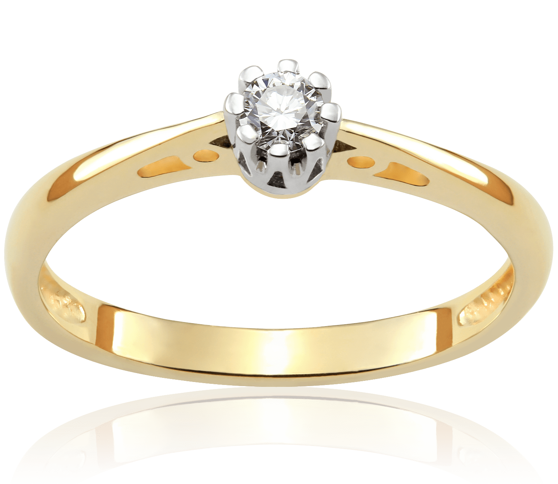 Pierścionek Zaręczynowy Julienne 011 Ct Z Brylantem Białe I żółte
