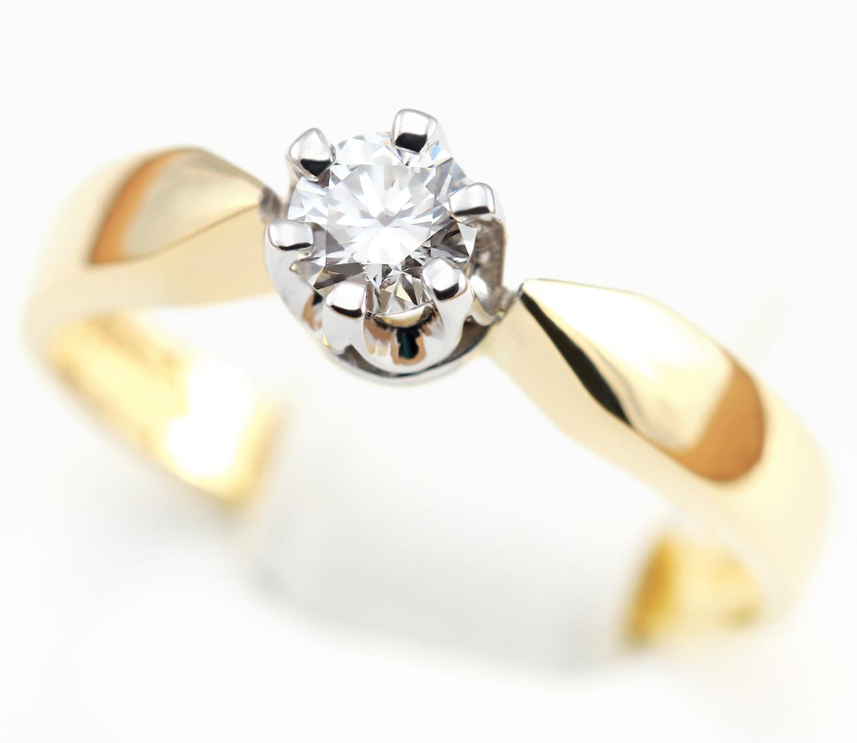 Pierścionek Zaręczynowy Scarlett 029 Ct Z Brylantem Białe I żółte