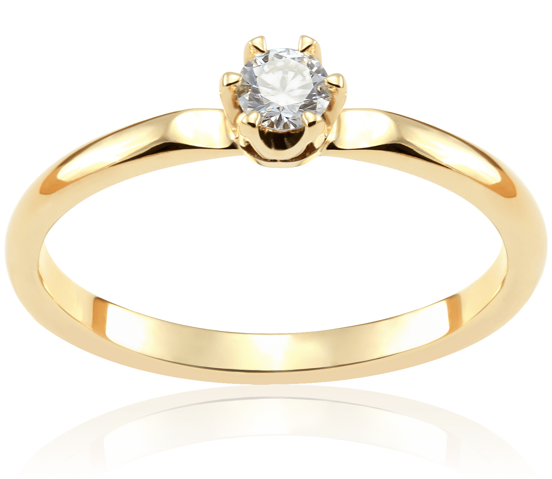 Pierścionek Zaręczynowy Carmen 012 Ct Z Brylantem żółte Złoto