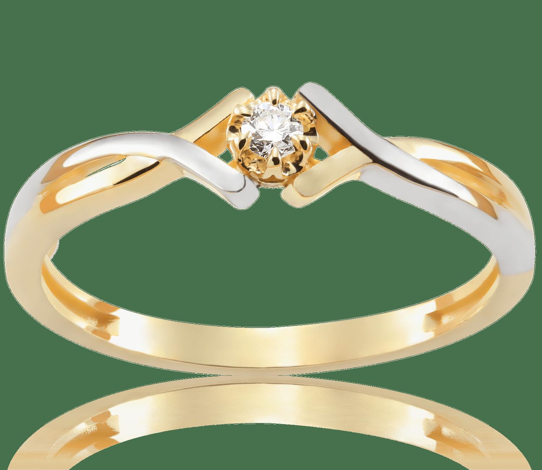 Pierścionek Zaręczynowy Frances 004 Ct Z Brylantem żółte Złoto