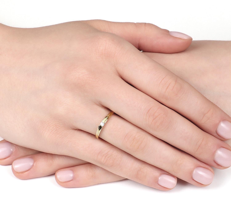 Pierścionek Zaręczynowy Cecilia 004 Ct Z Brylantem żółte Złoto